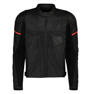 BLOUSON YAMAHA CUIR MT LANS HOMME NOIR / ORANGE planet-racing.fr