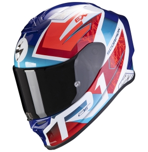 CASQUE SCORPION EXO R1 AIR INFINI BLANC BLEU ROUGE